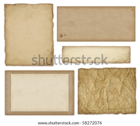 Set of old papers isolated on white