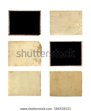 Set of  old photo paper texture isolated on white background - stock photo