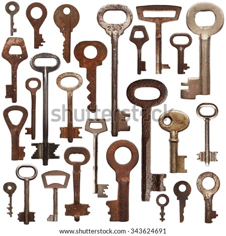 Set of old rusty keys isolated on white background - stock photo