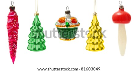 set of old toys for decorating Christmas trees on the white - stock photo