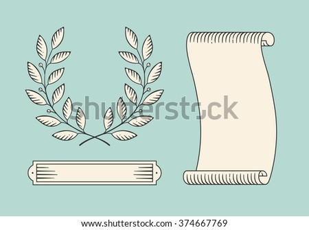 Set of old vintage ribbon banner and laurel wreath in engraving style. Hand drawn design element. Illustration - stock photo