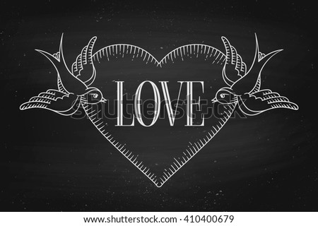Set of old vintage ribbon banner with word Love, heart and tattoo bird in engraving style on a black chalkboard background and texture. Hand drawn design element. Illustration - stock photo