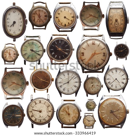 Set of old watches isolated on white background - stock photo