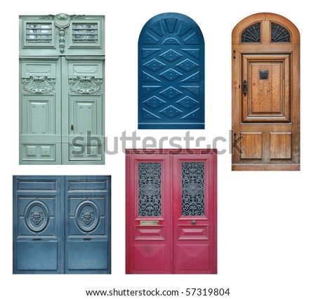 Set of old wooden doors isolated on white - stock photo