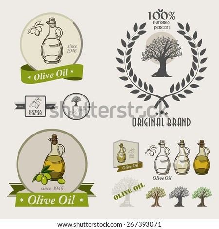 Set of olive oil labels,logos badges and design elements.  Olive oil bottle. Retro style drawing. - stock photo