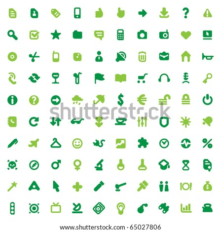 Set of one hundred green icons for website interface, business designs, finance, security and leisure. Raster version. For vector version of this image, see my portfolio. - stock photo