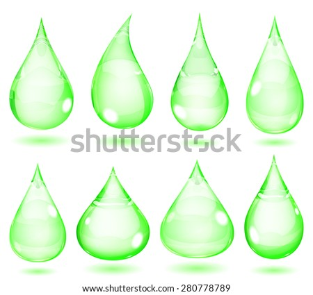 Set of opaque drops in green colors - stock photo