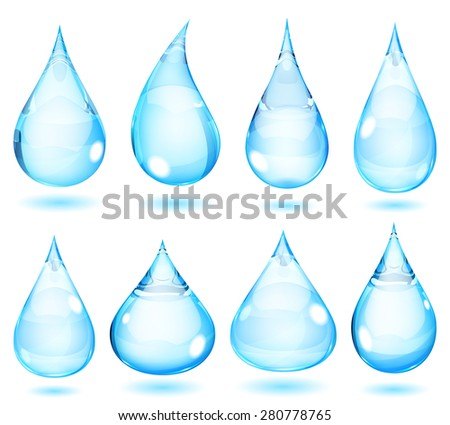 Set of opaque drops in light blue colors - stock photo