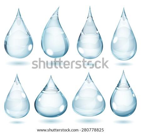 Set of opaque drops in pale blue colors - stock photo