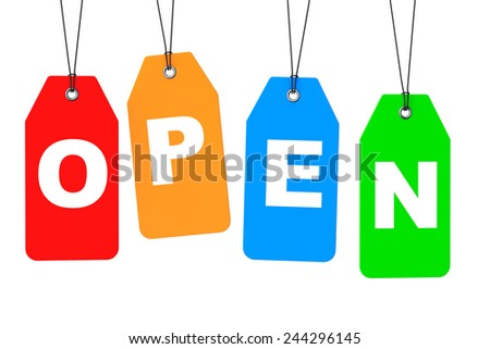 Set of Open Multicolour Blank Tags on a white background - stock photo