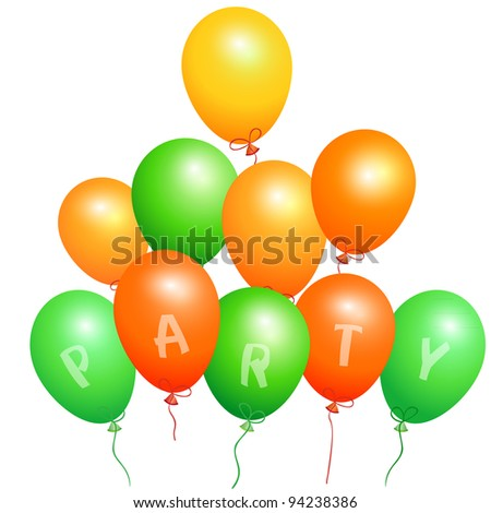 Set of orange and green party balloons,