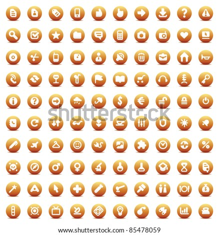 Set of 100 orange buttons for web, business, media and computer interface. Raster version. Vector version is also available. - stock photo
