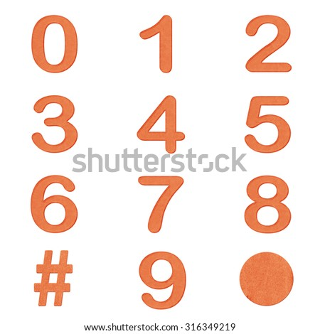 Set of orange color number  in Paper craft texture isolated on white background - stock photo