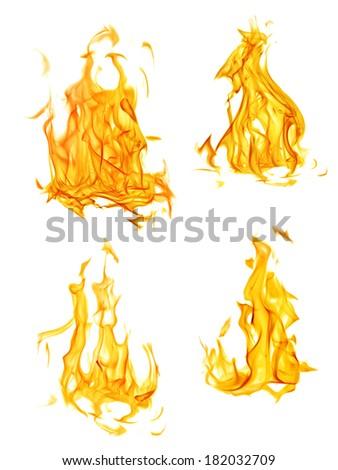 set of orange flames isolated on white background - stock photo
