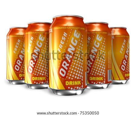 Set of orange soda drinks in metal cans - stock photo