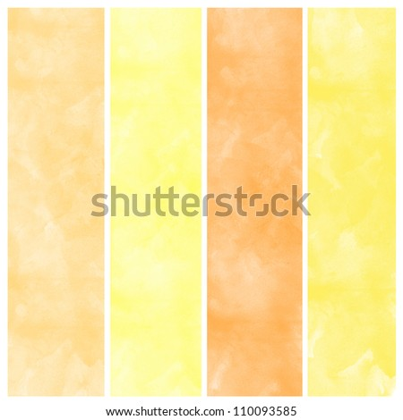 Set of orange watercolor abstract hand painted backgrounds - stock photo