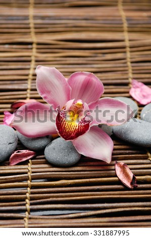 Set of orchid with gray stones on mat  - stock photo