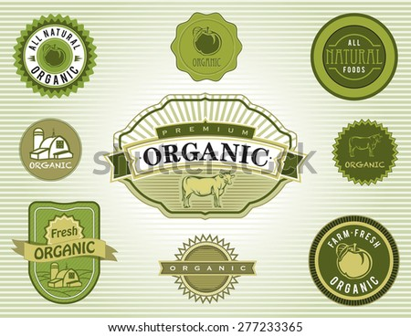Set of organic and natural food labels and badges. - stock photo