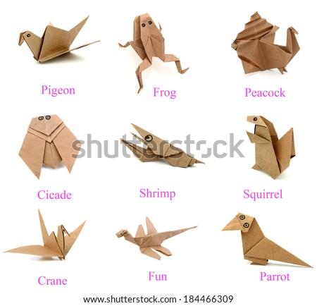 Set of origami animals - stock photo