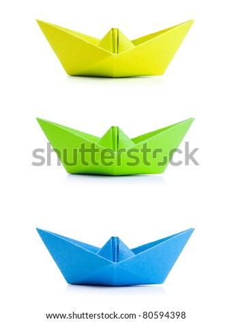 set of origami boat - stock photo