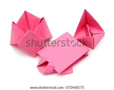 set of origami papers on white - stock photo