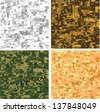 Set of original camouflage digital pixel seamless patterns. Raster version of vector file. - stock photo