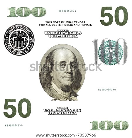 set of original detail dollars isolated on white background - stock photo