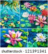 Set of Original oil paintings of beautiful water lily(Nymphaeaceae) on canvas.Modern Impressionism - stock vector