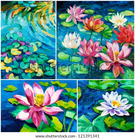 Set of Original oil paintings of beautiful water lily(Nymphaeaceae) on canvas.Modern Impressionism - stock photo