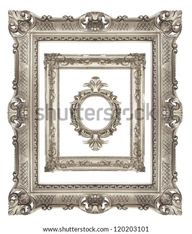 Set of ornamental silver frames - stock photo