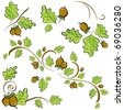 set of ornaments made of oak leaves and acorns. illustration - stock vector