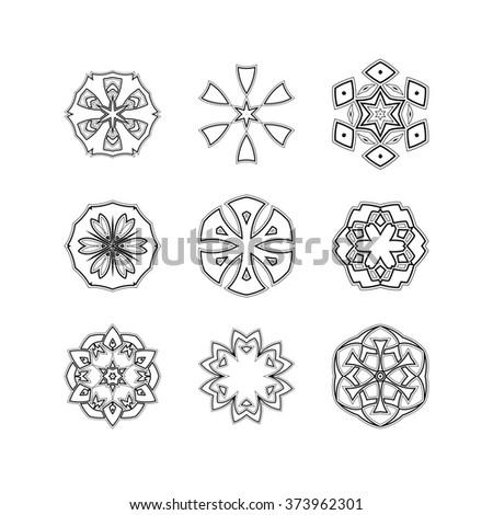 Mandala elements tattoo icon set star stock vektor for Circular symbols tattoos