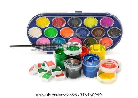 Set of paints isolated on white background - stock photo
