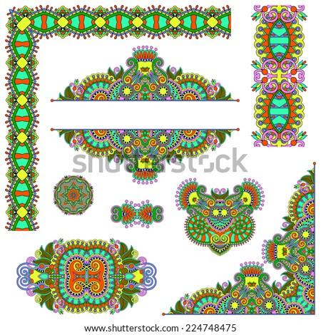 set of paisley floral design elements for page decoration, frame, corner, divider, circle snowflake, stripe pattern, raster version - stock photo