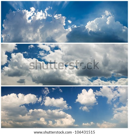 set of panoramic sky - stock photo