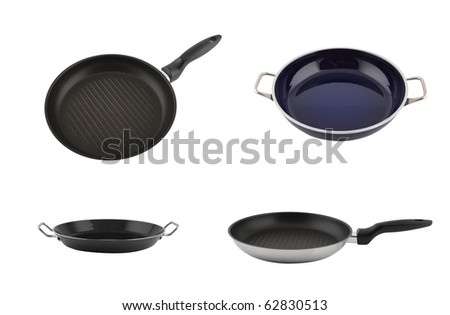 Set of pans isolated on white - stock photo