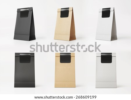 Set of paper bag templates. 3D rendering - stock photo