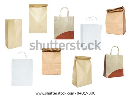 Set of paper bags - stock photo