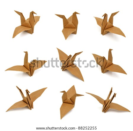set of paper birds on white background. - stock photo