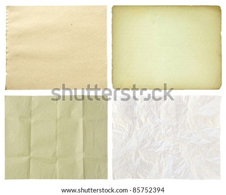 set of paper isolated on white background - stock photo