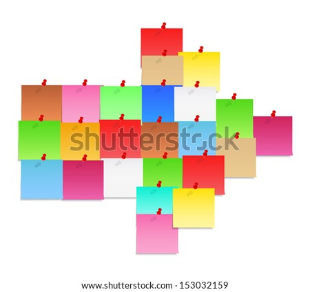 Set of paper notes shaped as arrow - stock photo