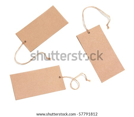 Set Of Paper Tags Isolated On White Background - stock photo