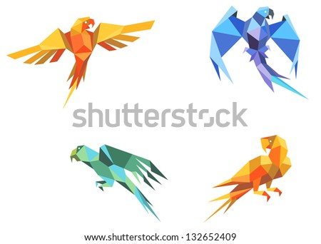 Set of parrots birds in origami paper style. Vector version also available in gallery - stock photo