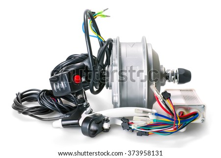 Set of parts for electric bike construction on white background. Motor, switch and controller  - stock photo