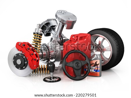 Set of parts of car. 3d render - stock photo