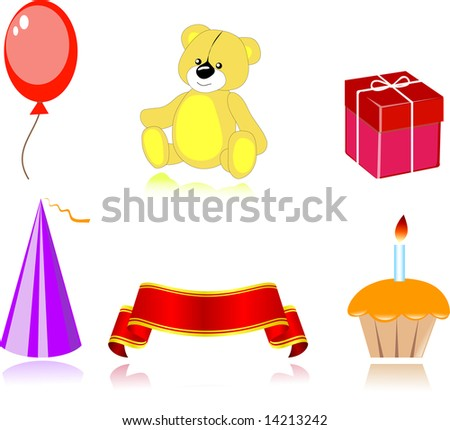 Set of party icon, vector - stock photo