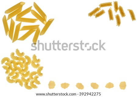set of pasta on a white background - stock photo
