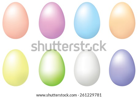 Set of pastel eggs for Easter design - stock photo