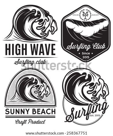 set of  patterns for design logos on the theme of water, surfing, ocean, sea - stock photo