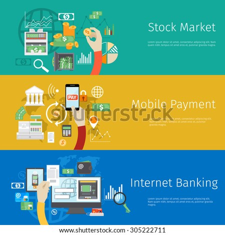 Set of payment concept web banners. Marketing technology, market stock, coin and revenue, bank and earnings, profit and financial - stock photo